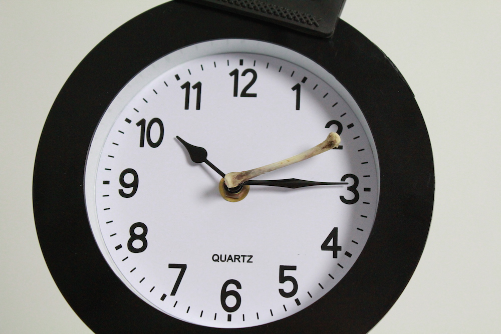 Reloj con segundero de hueso. Specio, Arturo Moya Villén, 2016
